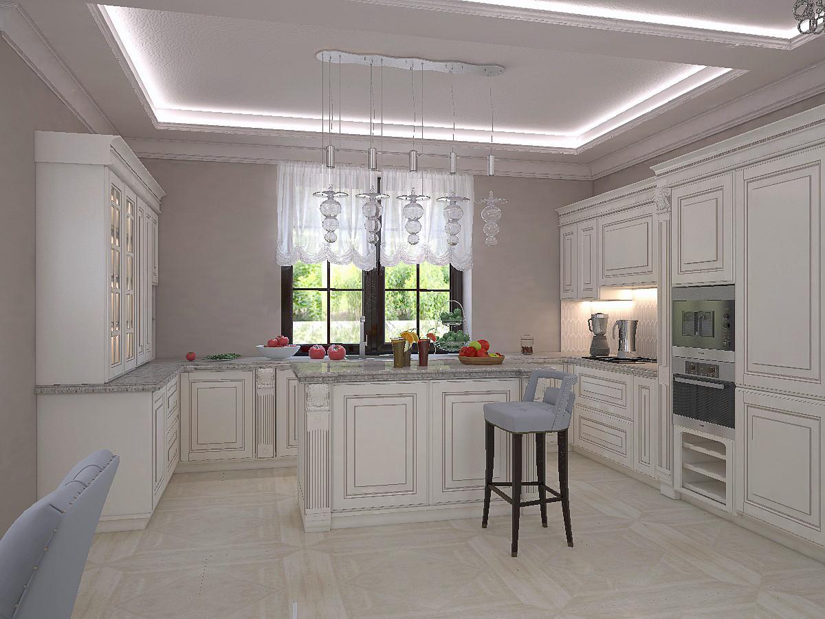 Мы предложили два варианта расположение кухонной мебели. На этом варианте мебель по двум сторонам от окна.