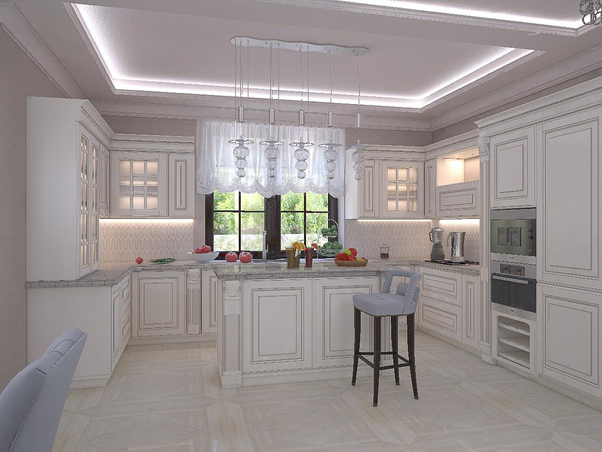 На этом варианте эскиза — кухонная мебель П-образной формы.