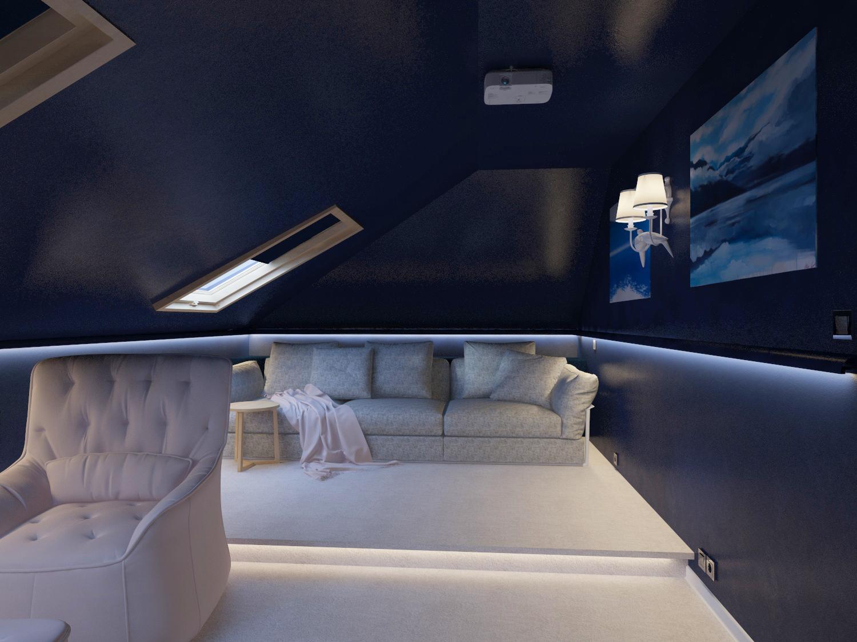 В мансарде сделали зону кинотеатра. Высота помещения — 2,5 м. Цвет стен и потолка — глубокий синий. Пол — мягкий ковролин.