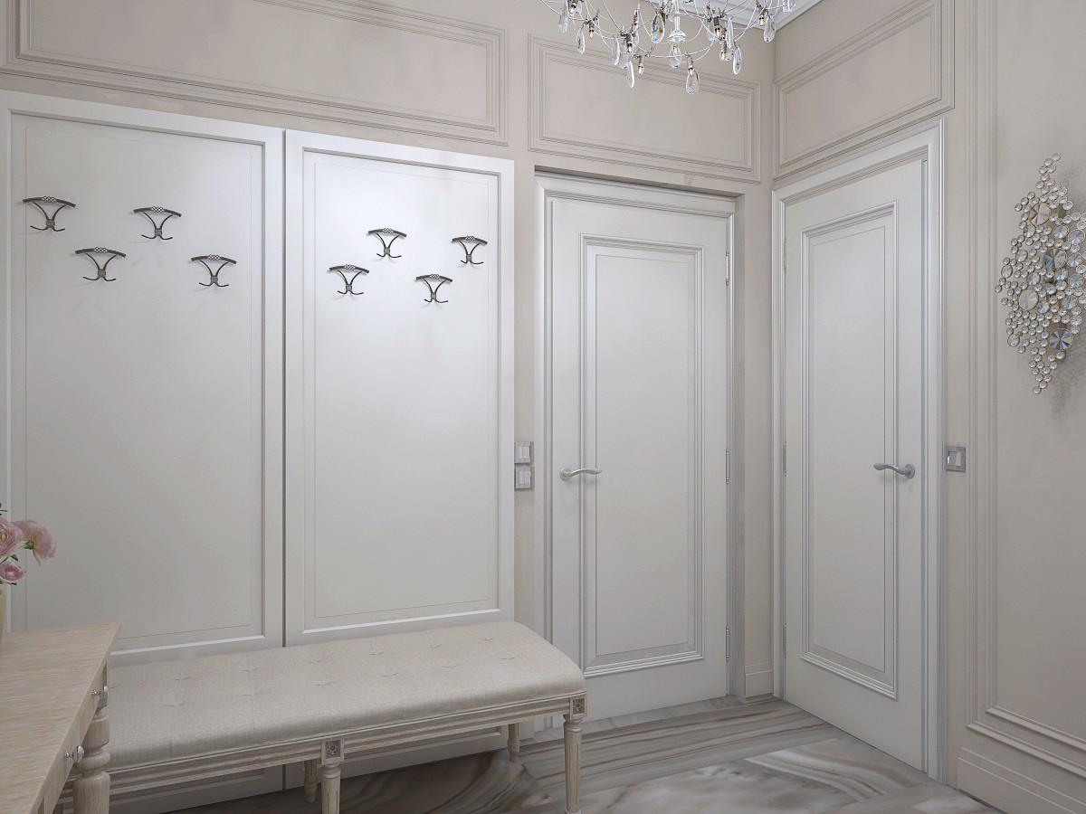 В холле нет гардеробного шкафа, вместо него вешалка и кушетка при входе. Для верхней одежды предусмотрели гардеробную.