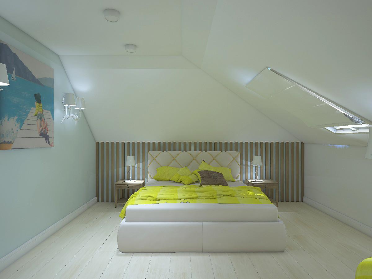 Изголовье кровати декорировали рейками из ореха. На противоположной стороне от  кровати симметрично расположили дерево.