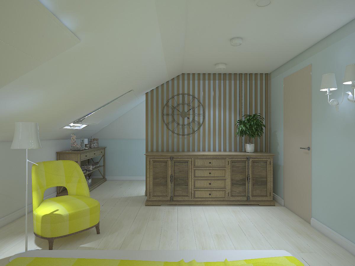 В мансарде устроена спальня площадью 21 кв. м. Цветовая гамма почти белая, с голубым оттенком.