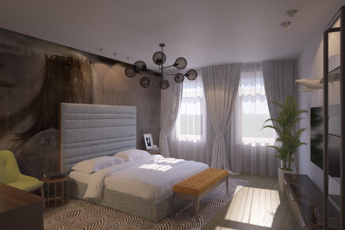 Спальня с примыкающей гардеробной.