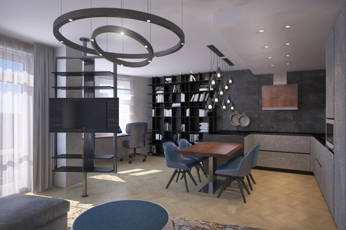 Студия гостиной включает в себя кухню, столовую, рабочее место, диванную зону с ТВ.