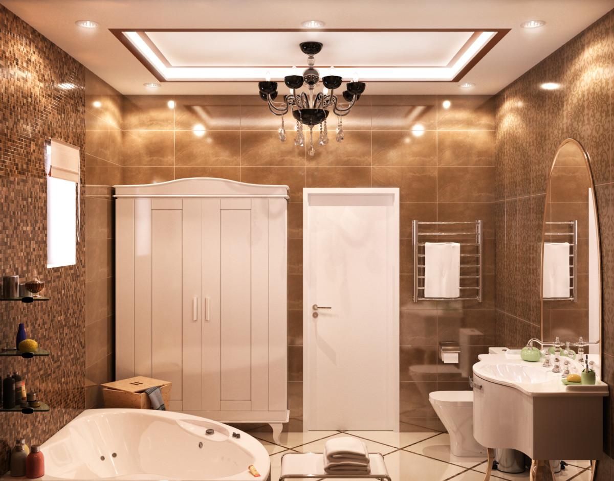 Потолок оформлен гипсовой лепниной и закарнизной подсветкой. Дополняет декор люстра в стиле ар-деко.