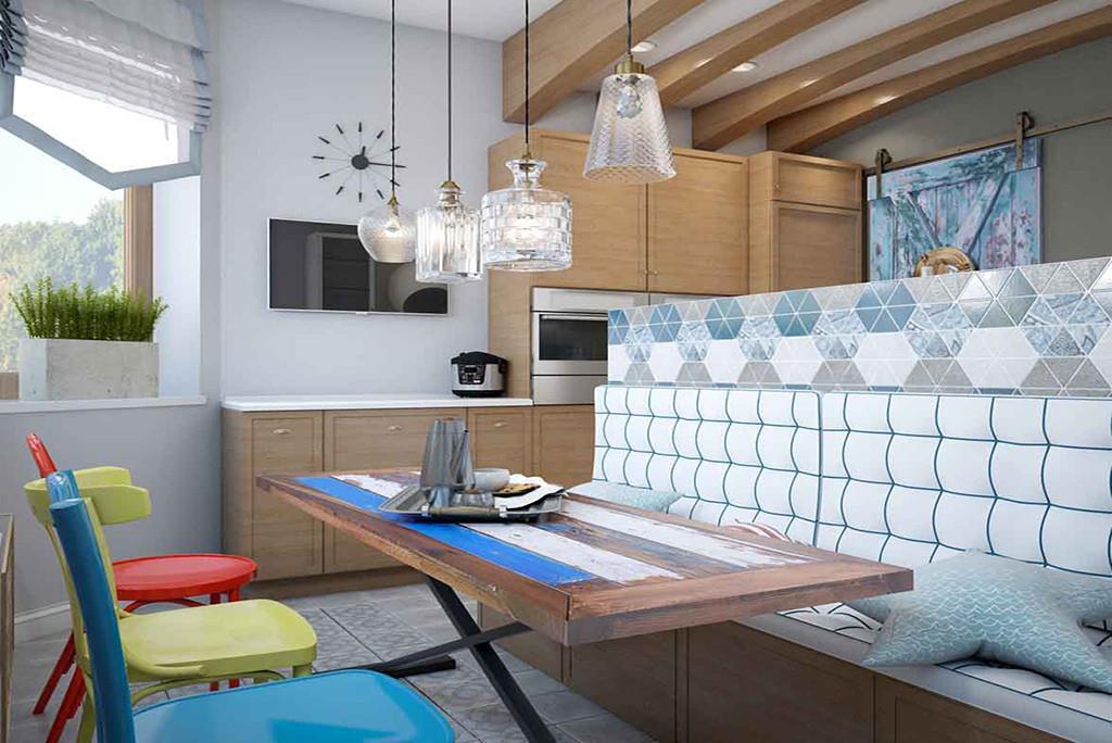 В проекте выигрышно сочетаются классические элементы, такие как фасады кухни, классической формы стулья, скамья, и современные детали - яркие акценты, нестандартная планировка.
