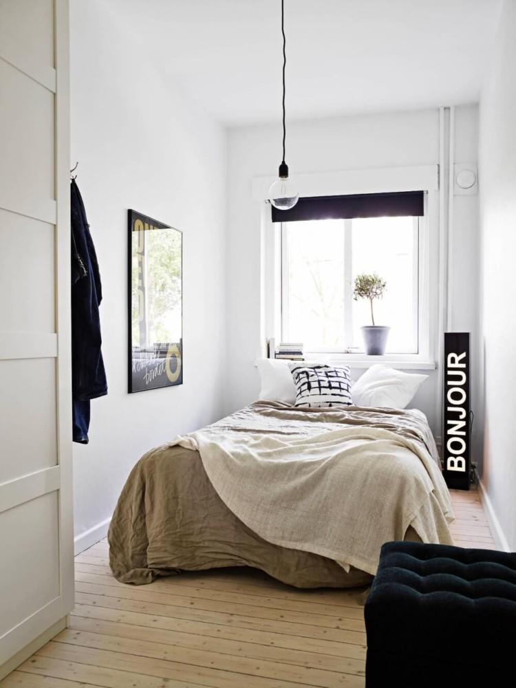 Спальня в  цветах:   Бежевый, Коричневый, Светло-серый, Темно-коричневый.  Спальня в  стиле:   Скандинавский.