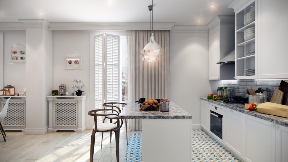 интерьер кухни, совмещенной с гостиной