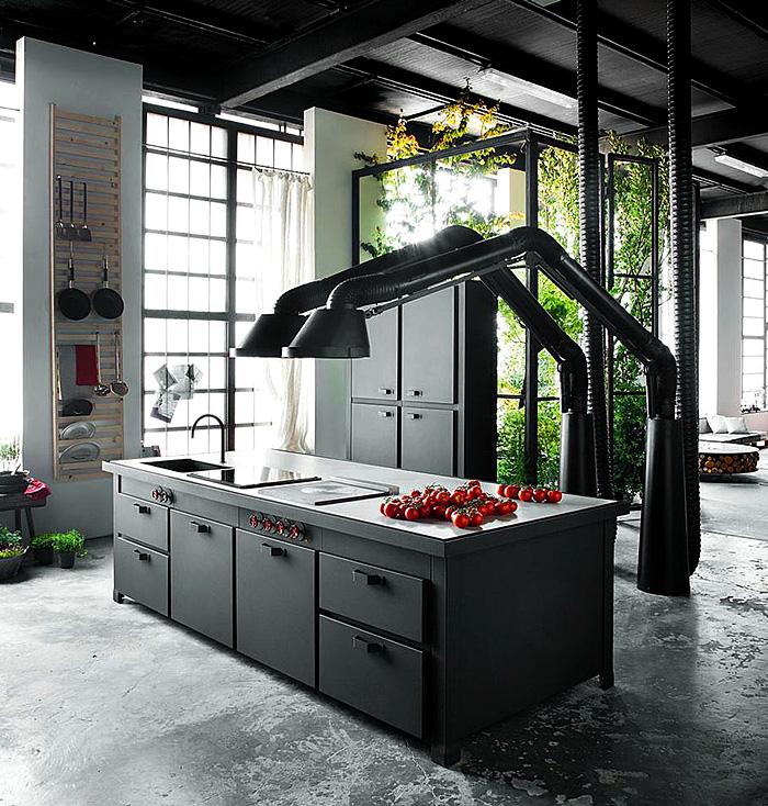 Кухня/столовая в  цветах:   Бирюзовый, Зеленый, Светло-серый, Серый, Фиолетовый.  Кухня/столовая в  стиле:   Лофт.