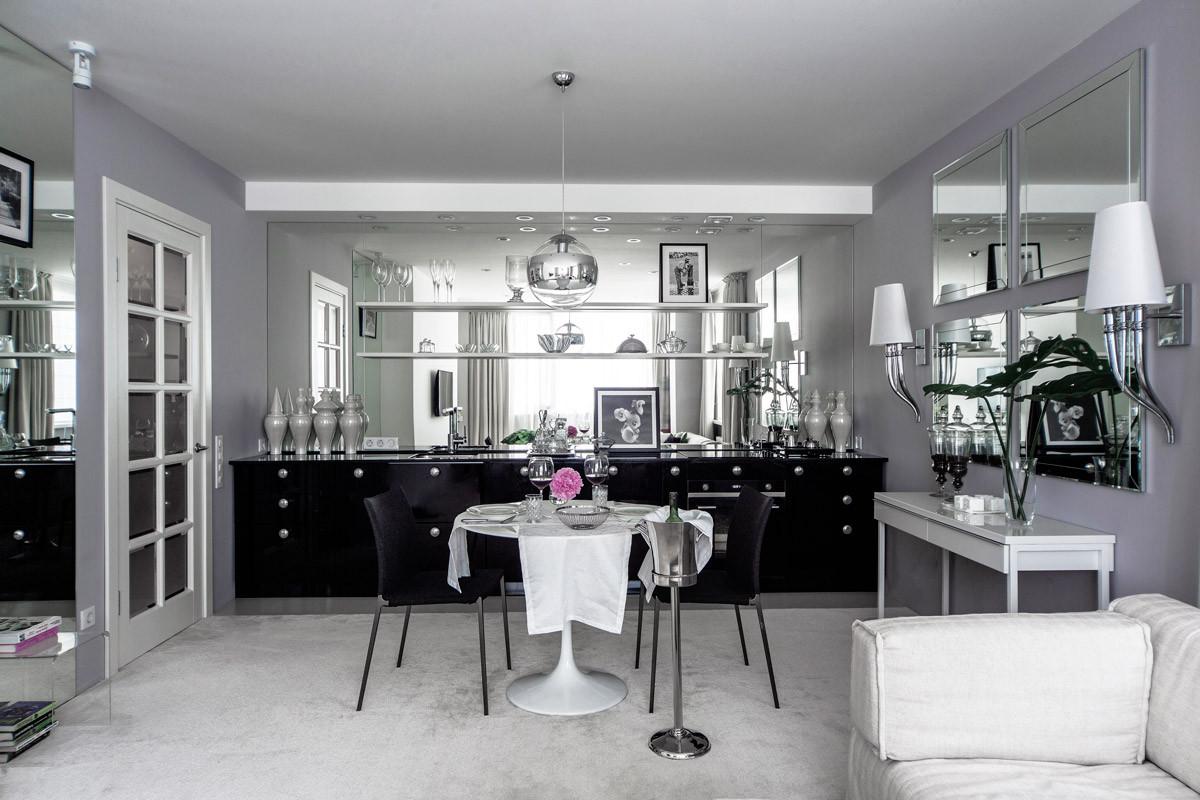 Кухня/столовая в  цветах:   Светло-серый, Серый, Темно-зеленый, Фиолетовый.  Кухня/столовая в  .