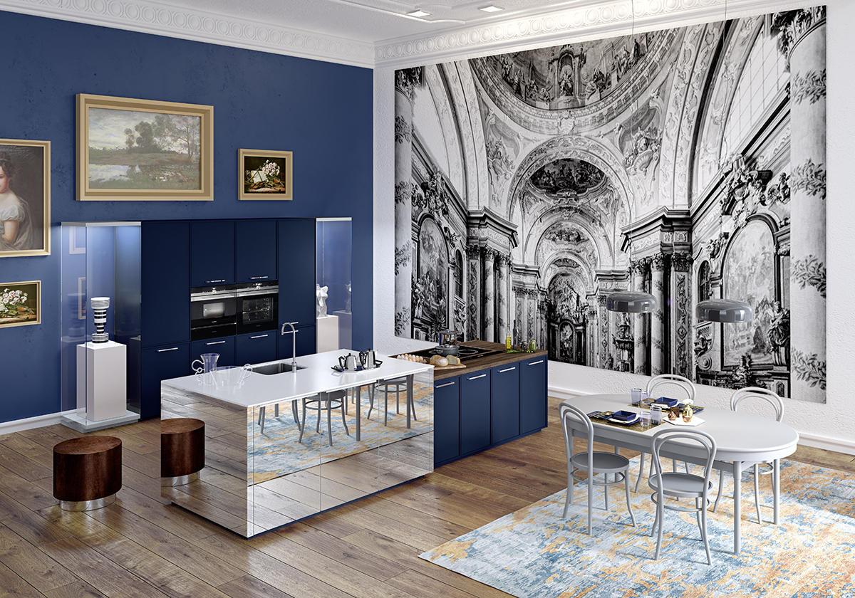 Кухня/столовая в  цветах:   Коричневый, Светло-серый, Темно-коричневый, Фиолетовый.  Кухня/столовая в  стиле:   Минимализм.