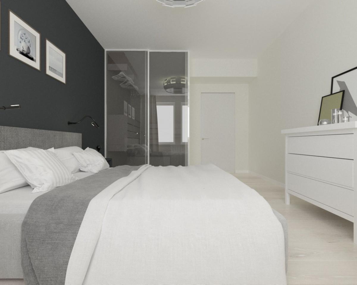 Спальня в  цветах:   Бежевый, Коричневый, Серый.  Спальня в  стиле:   Скандинавский.