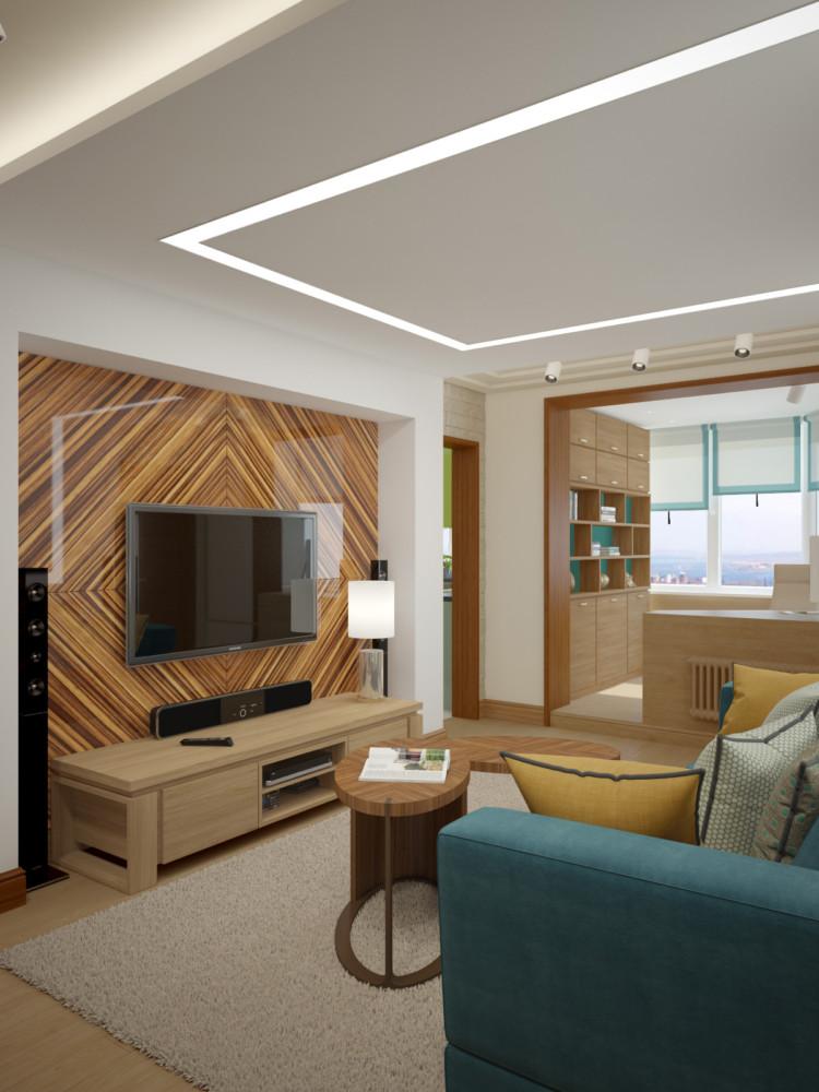 Гостиная — центр, сюда ведут выходы из всех  комнат.    Отделка  стен: краска tikkurila и натуральный камень. Напольное покрытие: техническая доска, дуб.