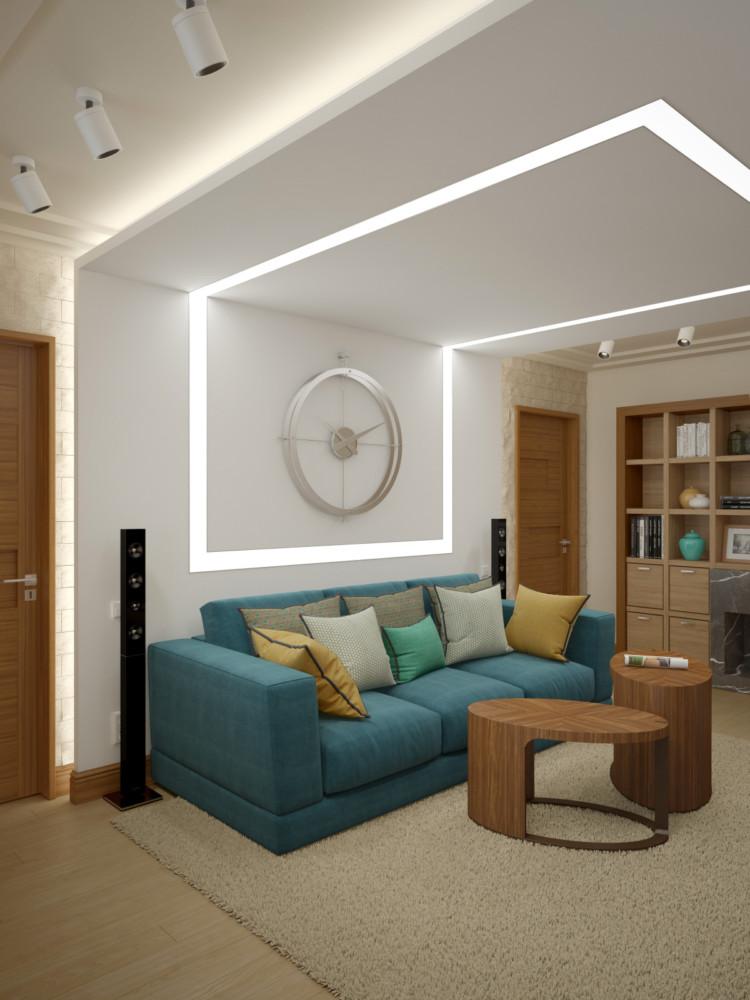 Цветовое решение каждой комнаты разное, но яркое и насыщенное, а гостиная — нейтральная , спокойная, симметричная.