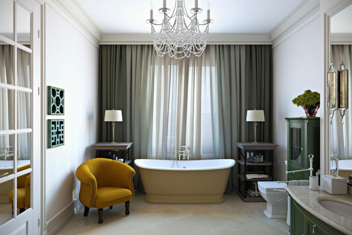 Здесь отдельно стоящая ванна перед большим окном, душевая кабина, закрытая изящным занавесом.