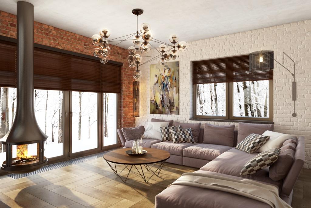 Большой семейный диван с камином и видом на природу… что может быть уютнее?