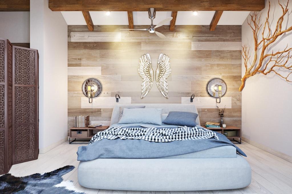 Дизайн спальни в нежных сочетаниях голубых оттенков неба и различного дерева.