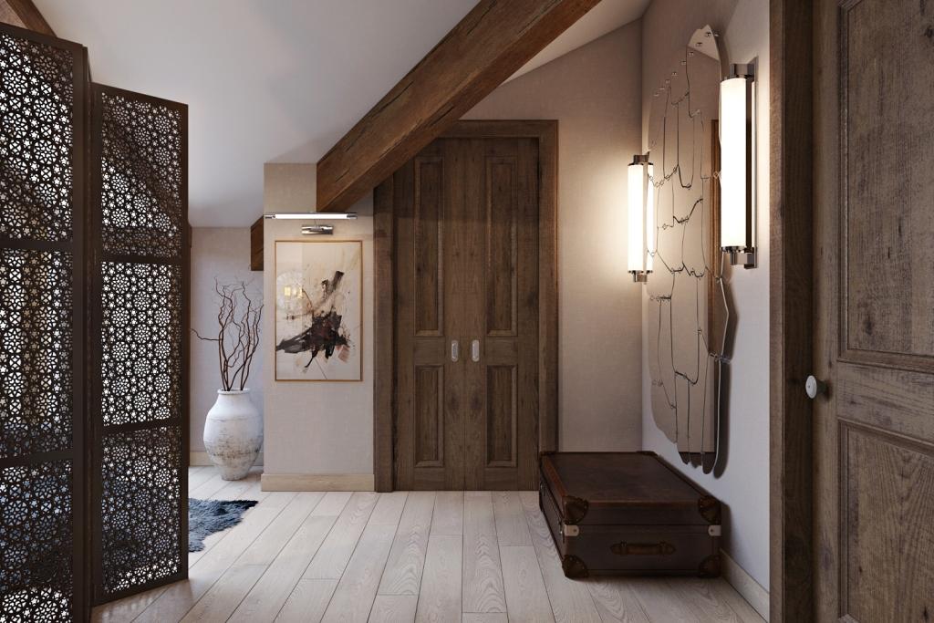 Настенное освещение выполнено в виде световых лучей для облегчения потолка.
