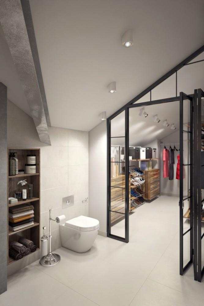 Ванная комната имеет небольшую площадь, но за счёт правильной планировки и прозрачной перегородки, отделяющей её от гардеробной, пространство считывается как просторное и главное — функциональное.