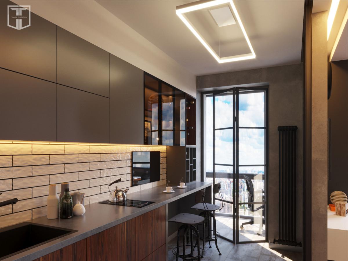 Стеклянная раздвижная перегородка отделяет кухню от гостиной, если вдруг возникнет необходимость разделить два помещения.