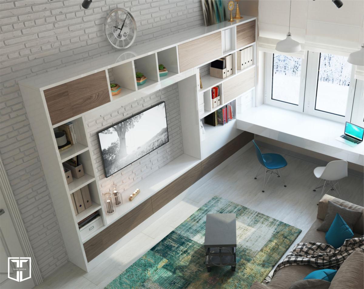 Это универсальное помещение, которое было спроектировано вместо гаража, оно одновременно служит кабинетом и местом хранения различных вещей.