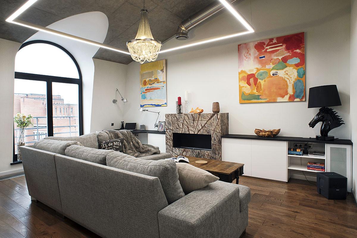 Двухэтажная и по-семейному уютная квартира в стиле лофт