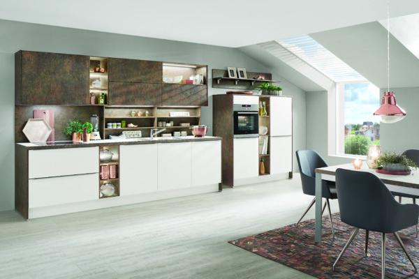 Кухня/столовая в  цветах:   Бирюзовый, Розовый, Серый, Фиолетовый.  Кухня/столовая в  стиле:   Минимализм.