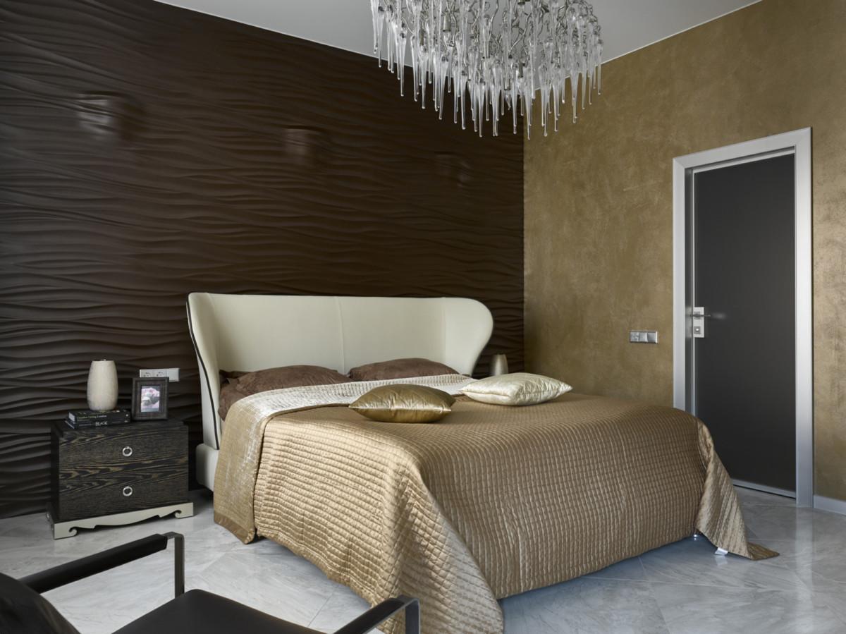 Спальня в  цветах:   Бежевый, Зеленый, Светло-серый, Темно-коричневый.  Спальня в  стиле:   Неоклассика.