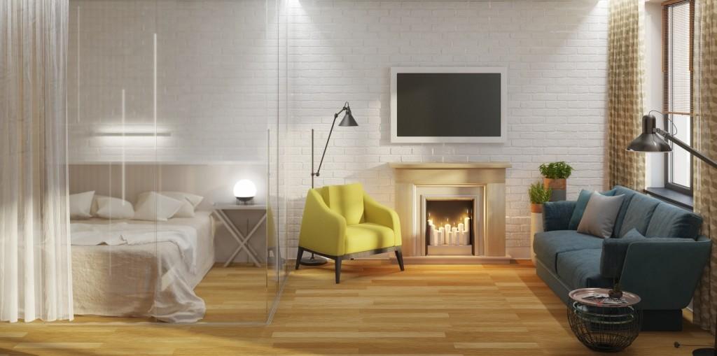 Необычная квартира: скандинавский стиль, стеклянный куб, контрастные цвета