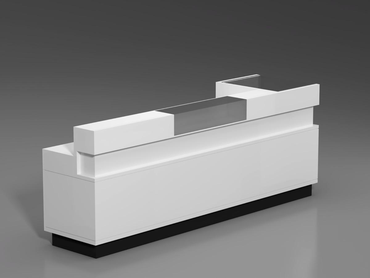 Визуализация стойки ресепшен в том виде, в котором он был спроектирован и отдан на производство.
