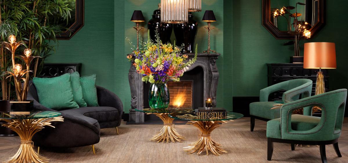 Модное сочетание зелёного и золотого в интерьере