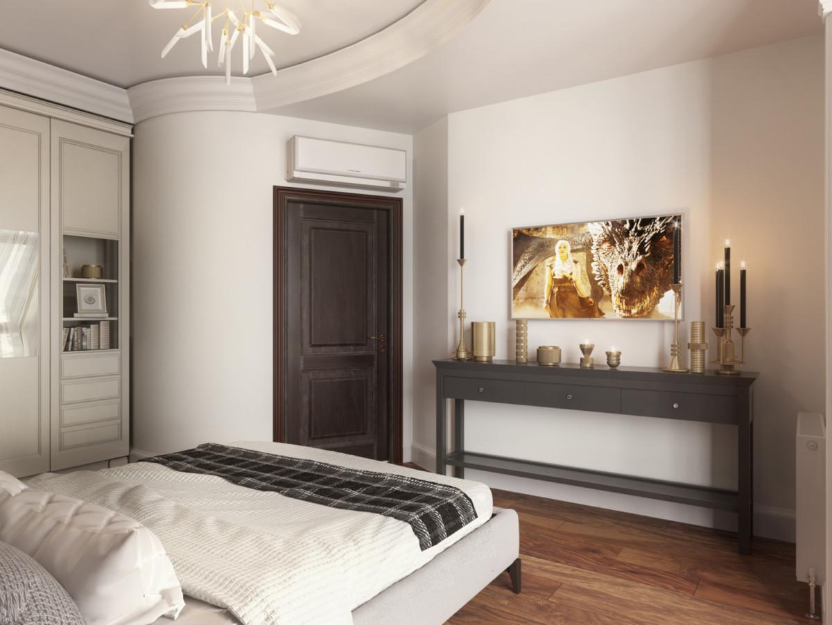 Квартира выполнена с нотками современного классического стиля.
