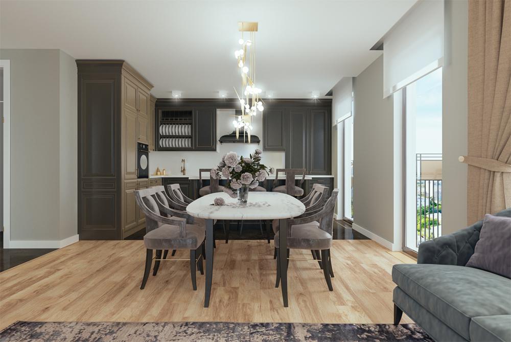 Красивая городская квартира с большим обеденным столом и стильным дизайном