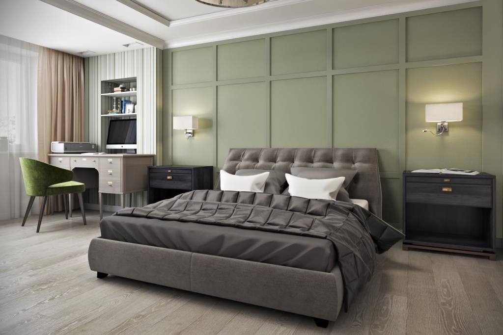 В этом монохромном интерьере - зеленый, как глоток свежего воздуха, который создает настроение комнаты