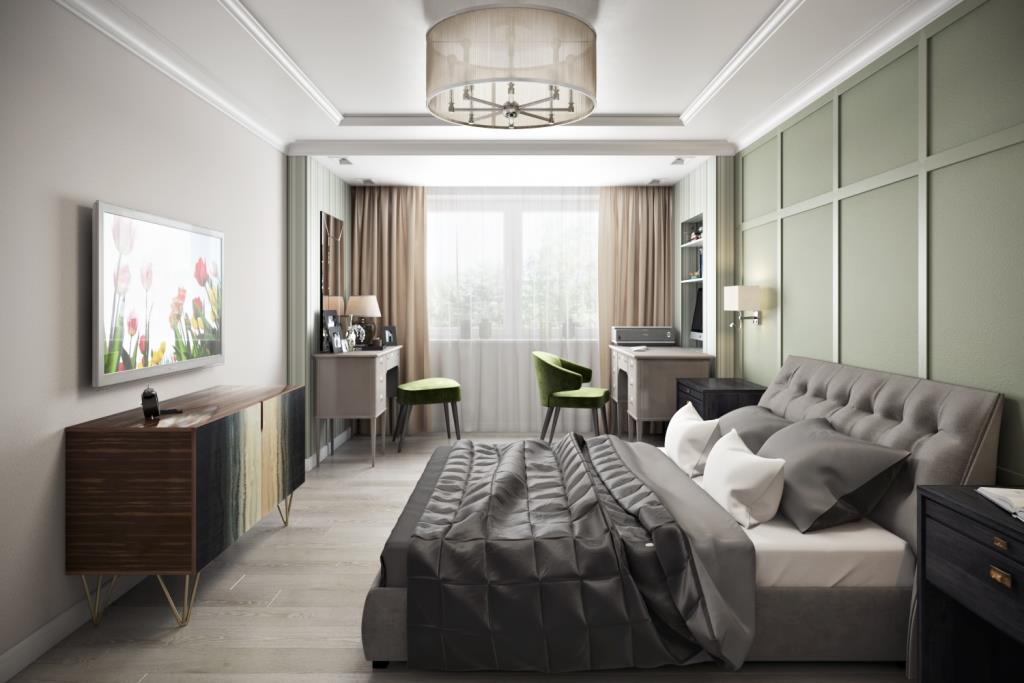 Эта спальная комната имеет две функциональные зоны: возле окна - зона бодрствования - выделена выступающей плоскостью с полосатыми обоями и опущенным потолком; зона сна - выделена умиротворенным зеленым цветом за изголовьем кровати, а потолок увенчан светильником с текстильным абажуром