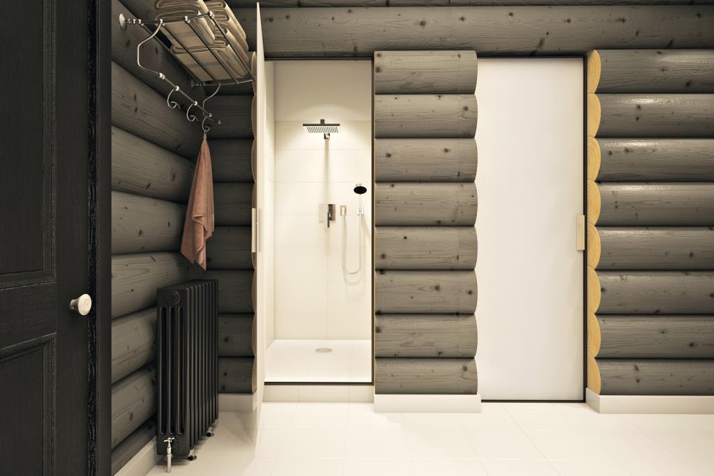 Душевая и системы хранения вынесены за пределы пространства ванной комнаты, что позволило очистить пространство и избавится от нагромождения