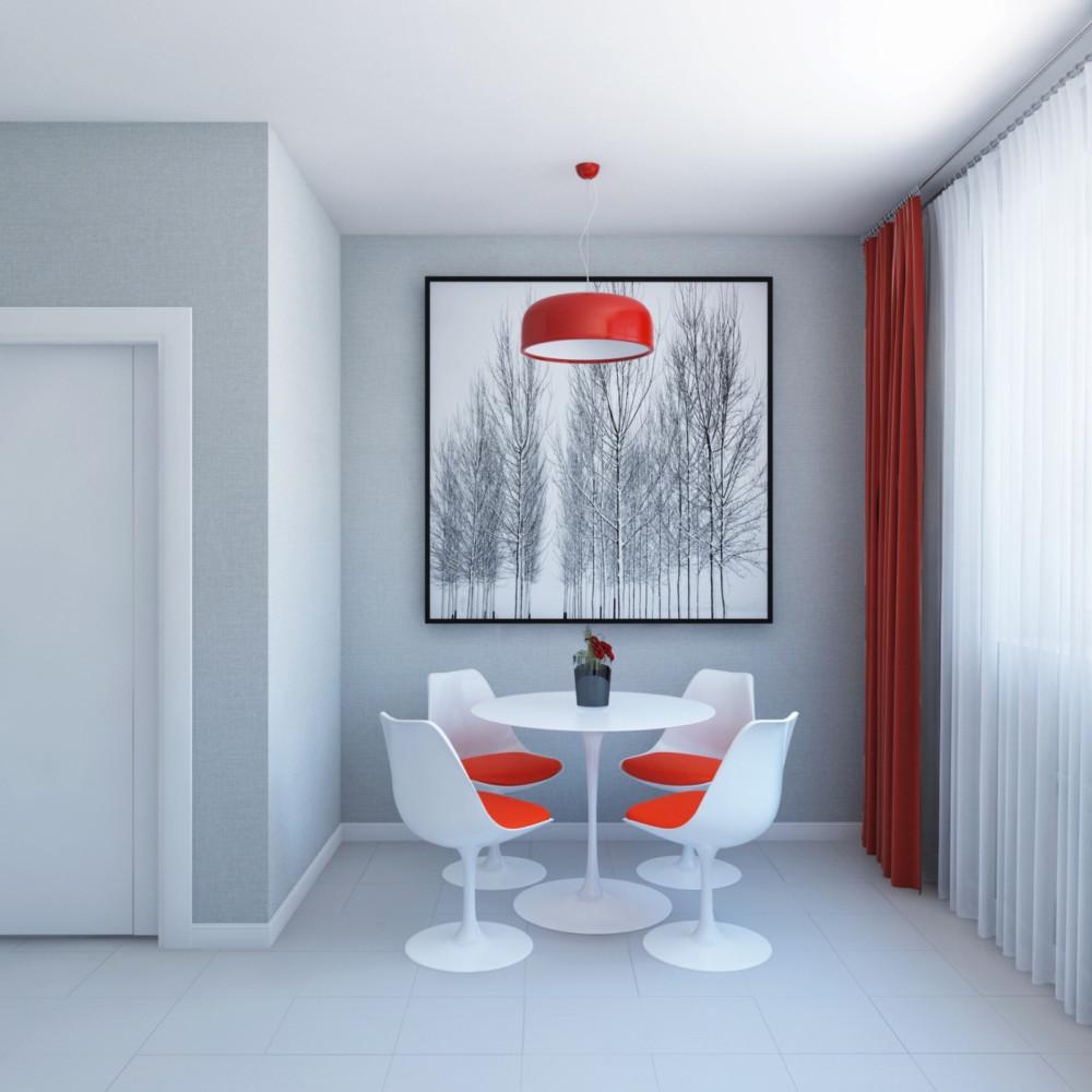 Кухня, акцент — графичный постер (на заказ), цвет штор поддержан цветом подвесного светильника и подушек на стульях.