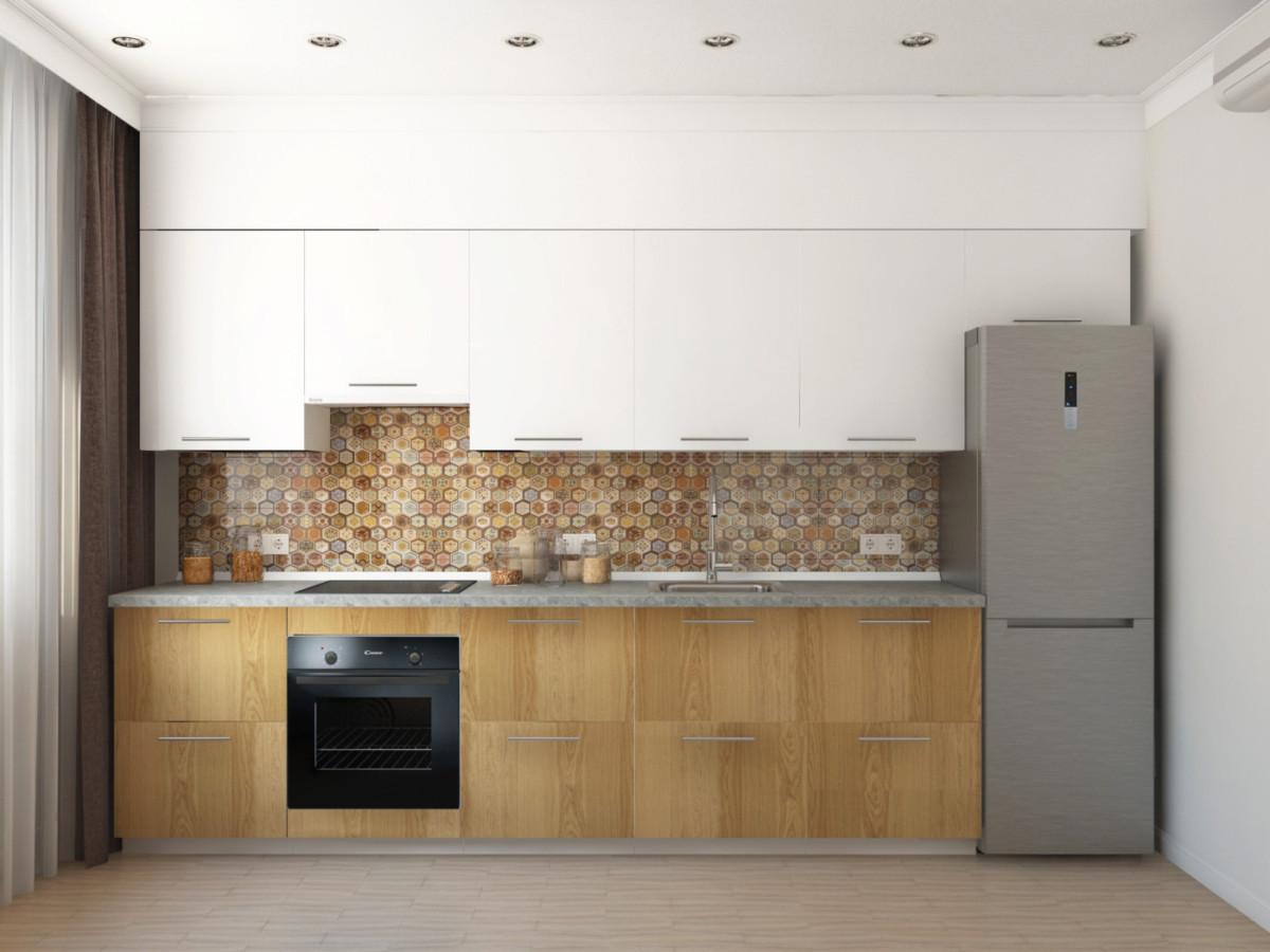 Кухня. Такая же плитка выложена на фартуке кухни. Низ кухни — светлое дерево, верх — белый глянец, что позволяет сделать кухню визуально более лёгкой.