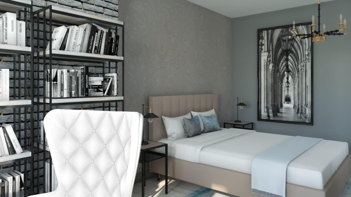 Спальня благодаря обоям с бежево-серым рисунком и мягкому изголовью кровати кажется уютной, несмотря на металлический стеллаж и графичный чёрно-белый постер. За стеной с постером расположена гардеробная.