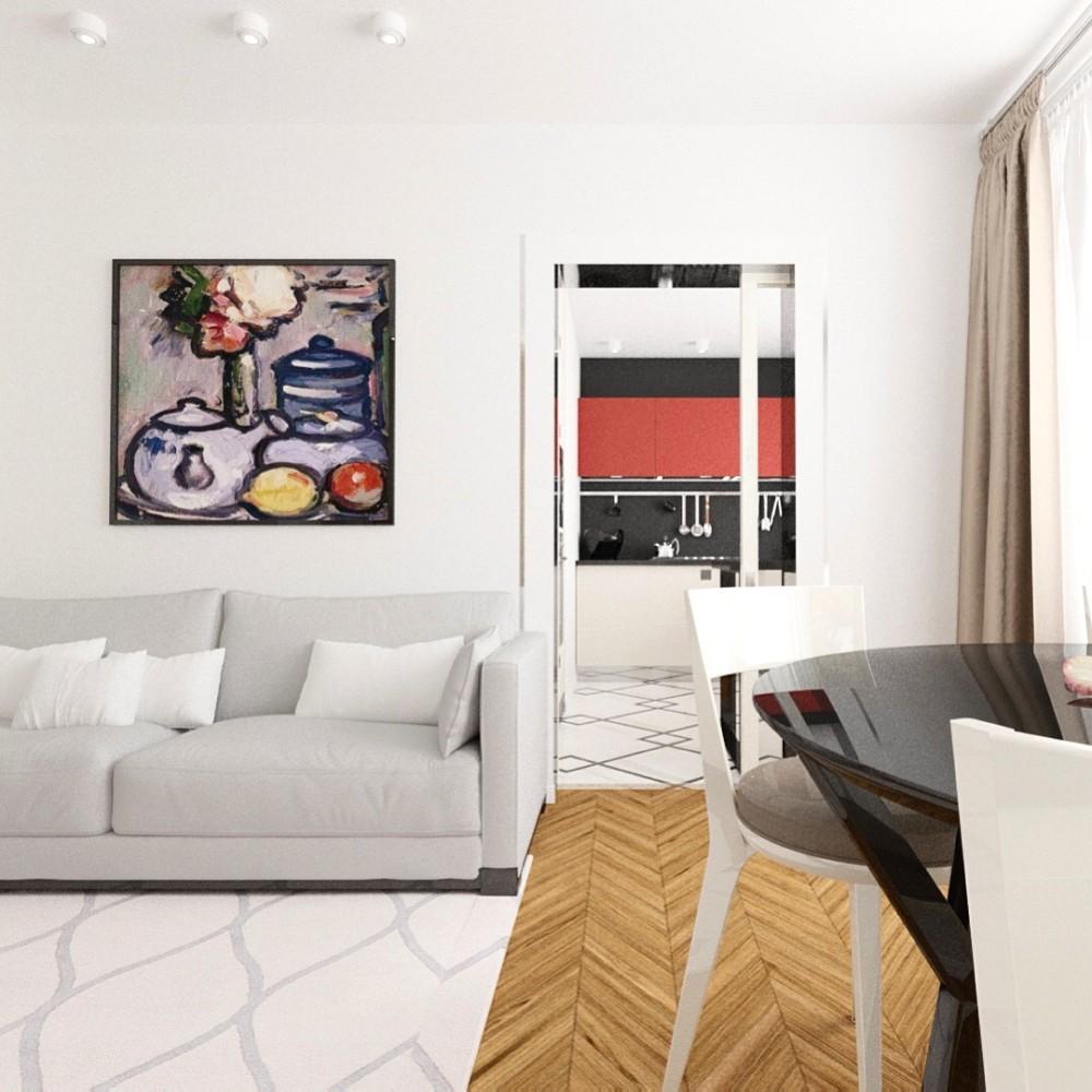 Белая квартира с яркой чёрно-красной кухней