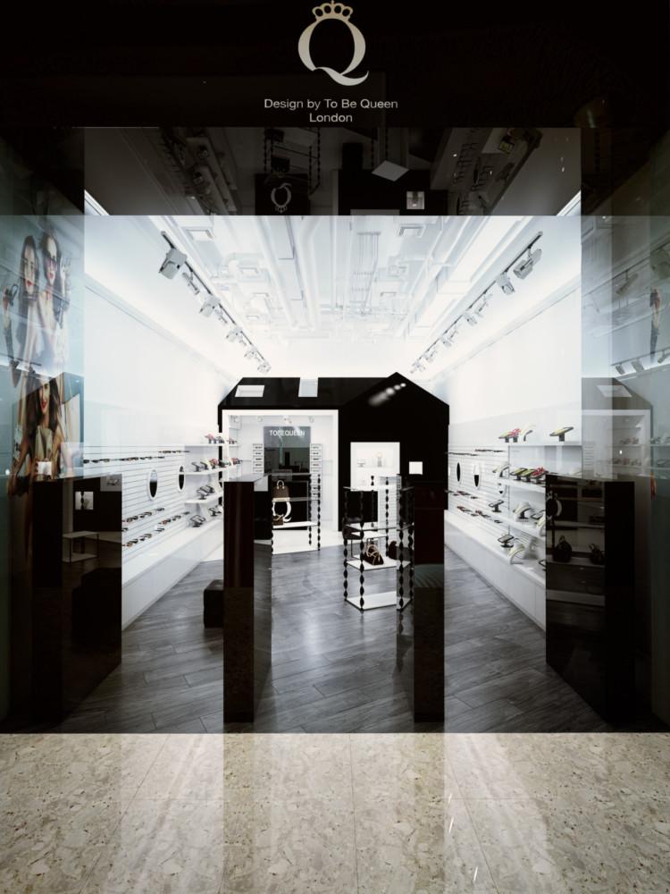 Стены и гипсокартонная конструкция окрашены матовой белой и глянцевой чёрной краской Beckers. Вся мебель изготовлена по специальному проекту. Входная зона и вывеска оформлены чёрным глянцевым стеклом и светодиодной подсветкой надписи.