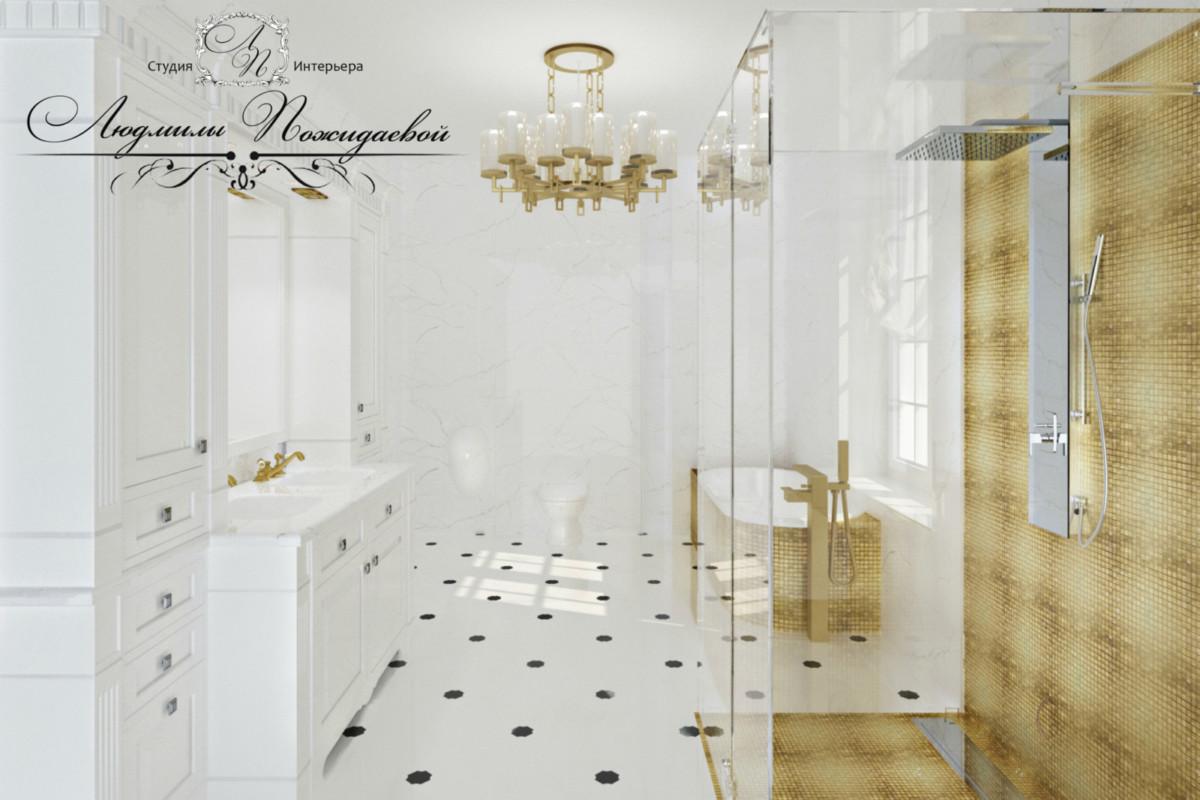 Атмосфера ванной комнаты важна нам всегда - легкая мраморная с золотом! Прекрасное настроение и ощущение чистоты!
