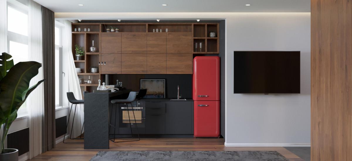 Студия в стиле лофт площадью 33 метра с красным холодильником
